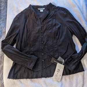 Nygard Collection Black Blouse With Tie Belt